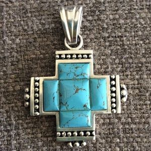 Jewelry - TURQUOISE AND STERLING SILVER PENDANT!🦋🦋🦋